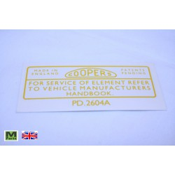 21 - Coopers Air Filter Sticker
